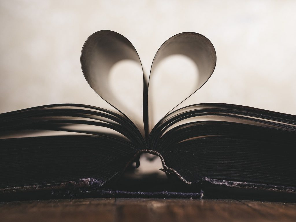 Heart-shape of book pages